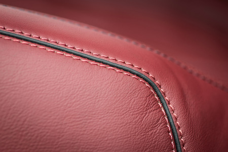 Modern car leather interior details with stitch. Stock Photo