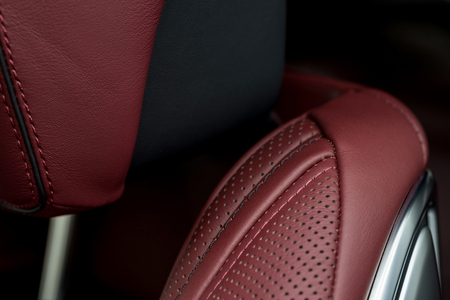 Car leather background. Interior detail.