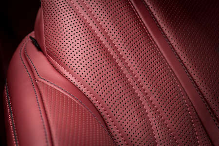 Luxury car leather with stitch. Interior detail.
