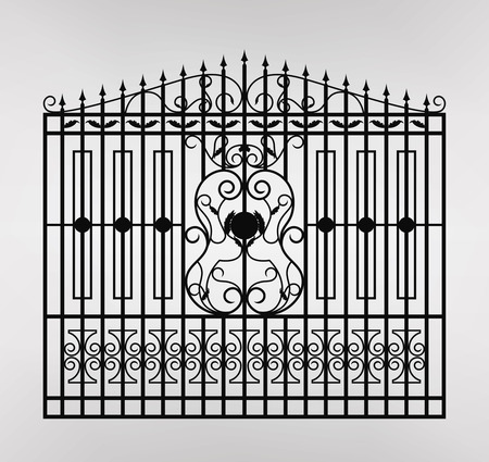 Forged gate icon illustration. Architecture detail. Vector EPS10.