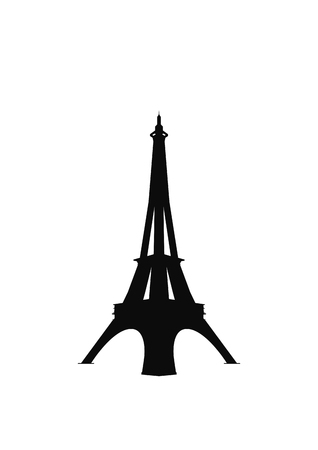 tower tall: Eiffel tower icon silhouette. Isolated on white background. Vector EPS10. Illustration