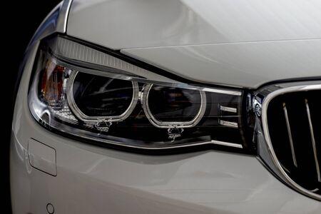 Modern car headlights. Exterior detail.