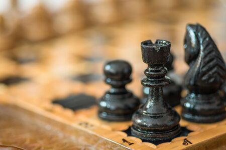 Black wooden chess. Business concept.