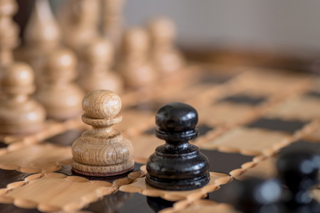 Chess game background. Business concept. Stock Photo