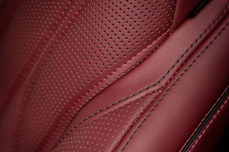 saddler: Car leather seat part. Macro. Stock Photo