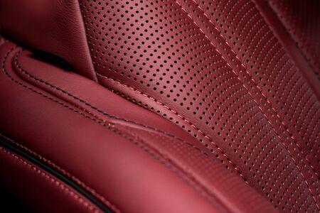 saddler: Part of leather car seat. Macro.