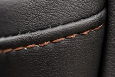 Car leather material. Interior detail. Macro photo. Stock Photo
