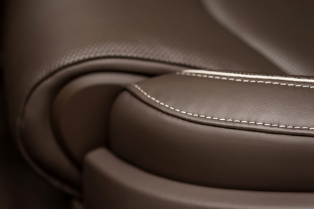 Leather car seat detail.