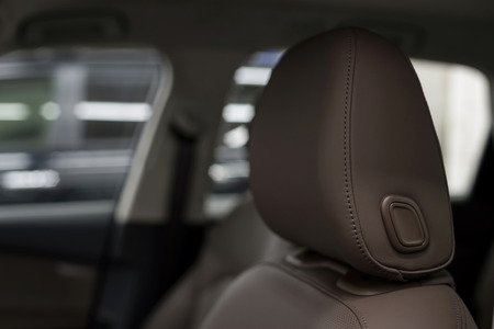 Leather seats. Modern car interior detail.