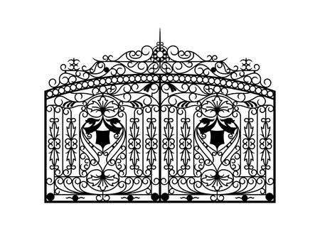 鍛造ゲート。建築ディテール。ベクトル EPS10。  イラスト・ベクター素材