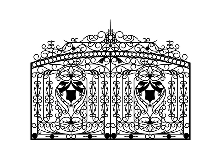 Forged gate. Architecture detail. Vector EPS10.