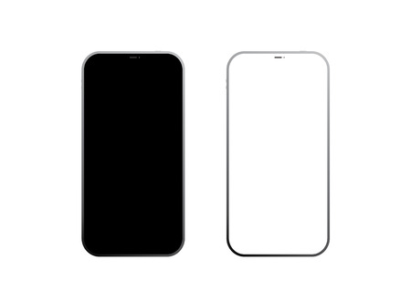 Black and white frameless smart phones. Isolated on white background. Vector EPS10. Иллюстрация