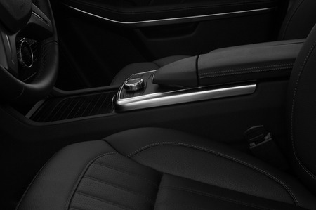 Modern, luxury car interior background. Black and white. Фото со стока