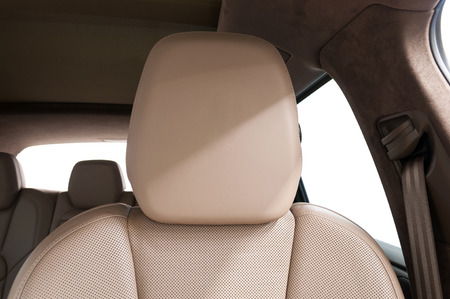 Modern car leather headrest. Interior detail. Фото со стока - 93601456