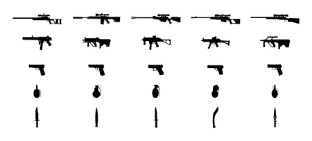 Weapons silhouettes set. Knifes, grenades, pistols, machineguns and sniper rifles. Vector EPS10. Иллюстрация