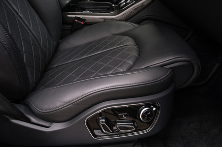 Car leather seat. Interior detail.