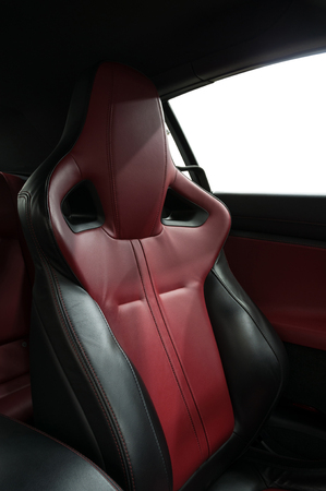 Leather seat. Car interior detail. Stock Photo