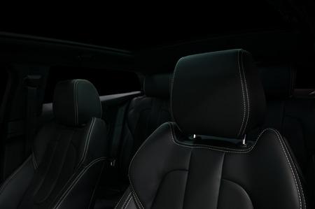 Modern car interior. Leather seats. Фото со стока