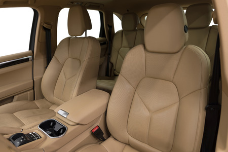 Modern luxury car interior. Leather seats.