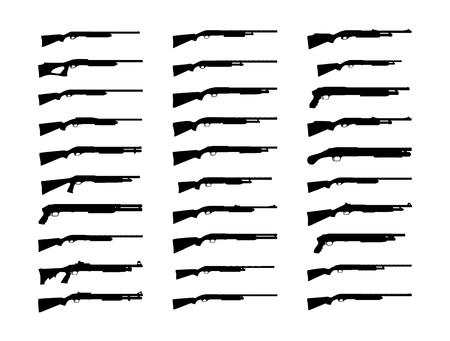 Shotguns silhouette set. Vector illustration isolated on white background. EPS10.