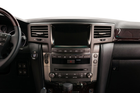 Modern car dashboard. Front view. Interior detail.