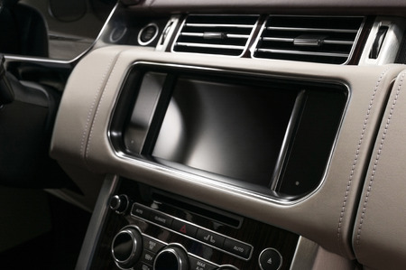 Panel of modern car with screen multimedia system. Auto interior detail. Фото со стока - 121735091