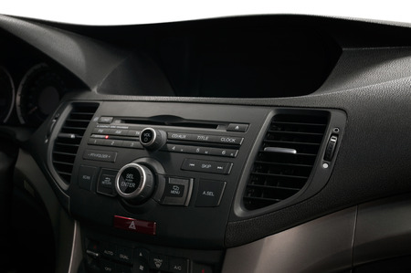 Modern car dashboard. Control panel with buttons. Imagens