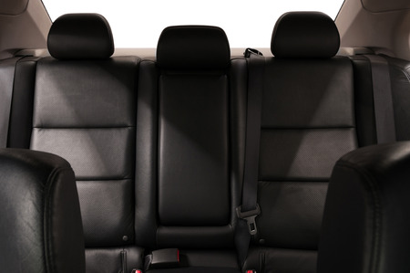 Leather seats in modern car. Interior detail.