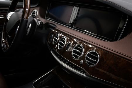 Modern luxury car inside. Interior background.