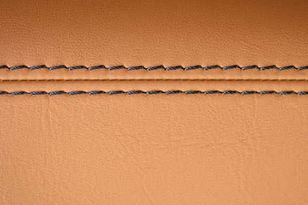 Leather background with stich. Car interior detail. Macro. Stockfoto