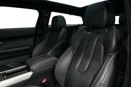 Modern car inside. Leather seats. Interior detail. Banco de Imagens