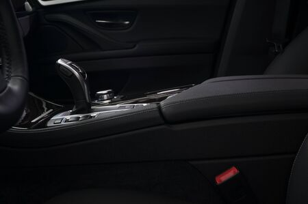 Automatic transmission in modern car. Interior detail.