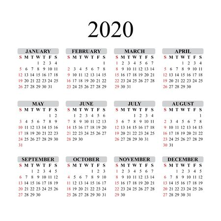 Calendar design for 2020 year. Vector EPS10.