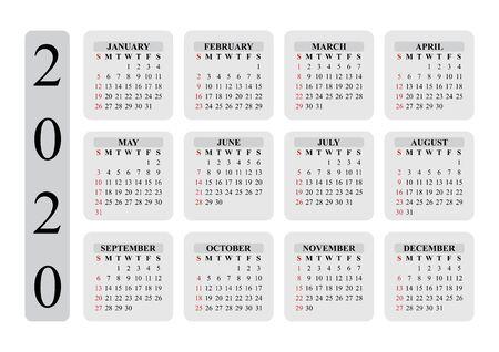 Design of calendar for 2020 year. The year of rat. EPS10. Иллюстрация