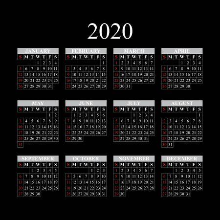Vector calendar for 2020 year on black background. EPS10. Иллюстрация