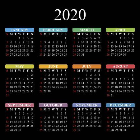 Vector calendar for 2020 year on black background. EPS10. 일러스트