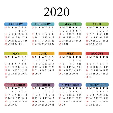 Vector calendar for 2020 year on white background. EPS10. 일러스트