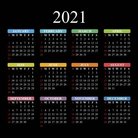 Vector calendar for 2021 year on black background.