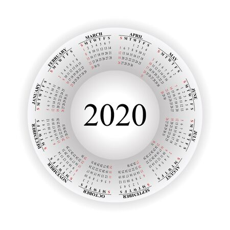 Round calendar for 2020 on white background. Vector EPS10. 일러스트