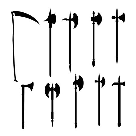 Medieval vector weapons set: battleaxe dark silhouette isolated on white background.