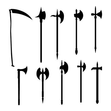 Conjunto de armas vectoriales medievales: hacha de batalla silueta oscura aislada sobre fondo blanco.