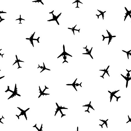 Airplanes silhouettes on white. Abstract seamless pattern. Vector EPS10.