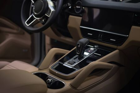 Luxury car interior background. Automatic transmission.