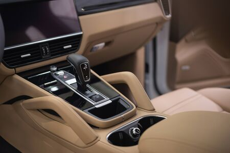 Automatic transmission in modern luxury  car. Interior detail.