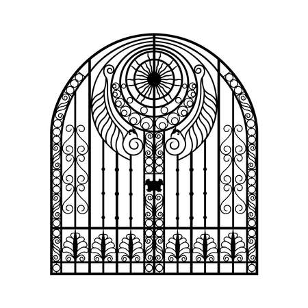 Forged gate door icon. Vector design.