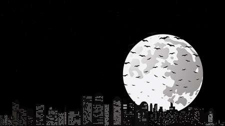 Halloween night with stars, full moon and bats.