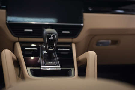 Automatic transmission in modern luxury sport car.