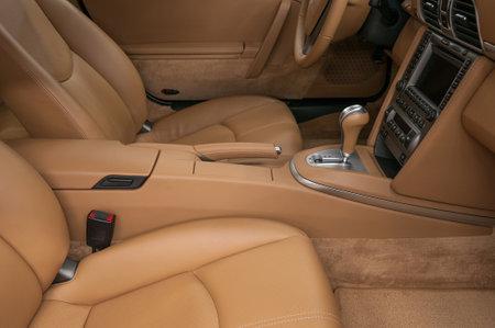 New sport modern car interior background. Automatic transmission. Фото со стока