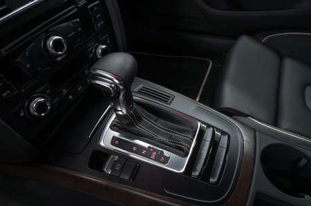 Modern car interior background. Automatic transmission.