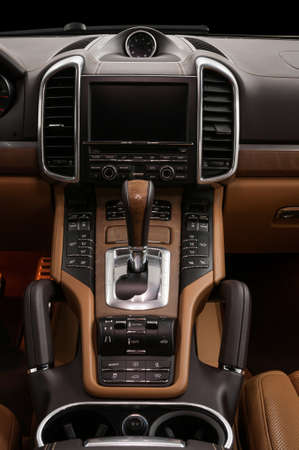 Car interior. Automatic transmission gear shift. Vertical photo.